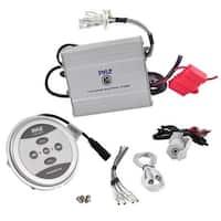 Bluetooth Marine Amplifier, 600 Watt 2-Channel Water Resistant Amp (Silver)