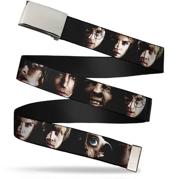 Blank Chrome Bo Buckle Harry Potter 8 Character Faces Close Up Webbing Web Belt