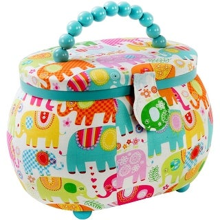"Sewing Basket Oval-9.5""X6.75""X7.25"" Elephants Print"
