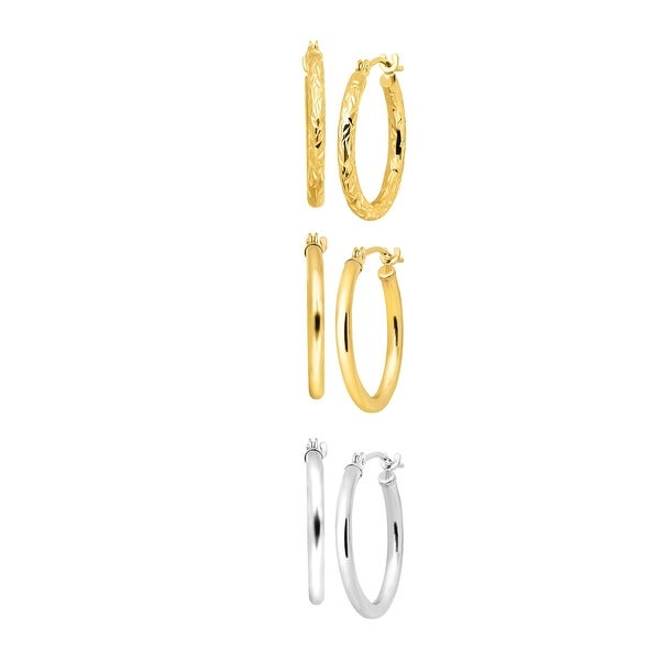 Eternity Gold Set of Three Hoop Earrings in 14K Yellow & White Gold - Two-tone