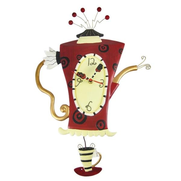 Allen Designs `Steamin` Tea` Teapot Pendulum Wall Clock - 20 X 13.5 X 1 inches