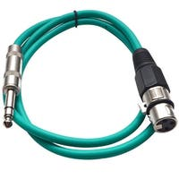 """SEISMIC AUDIO Green 1/4"""" TRS  XLR Female 2' Patch Cable"""