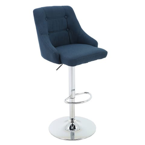 Brage Living Hathaway Button-Tufted Adjustable-Height Barstool, Blue