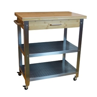 Link to Bamboo & Stainless Steel Rolling Kitchen Cart with Drawer & 2 Shelves Similar Items in Kitchen Furniture