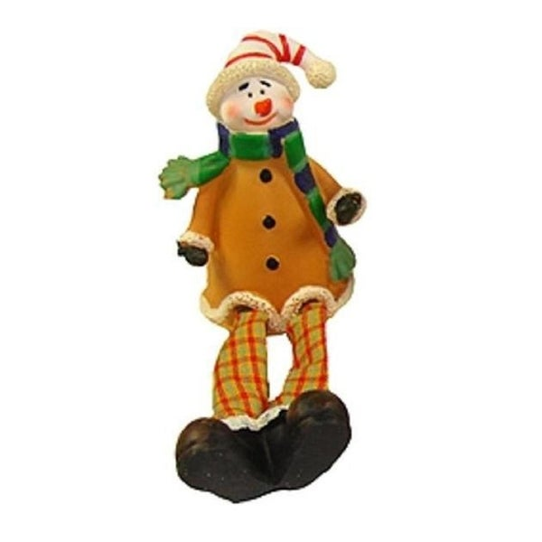 "5.5"" Festive Yellow and Plaid Sitting Snowman Christmas Table Top Figure"