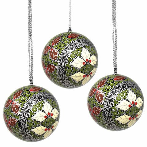 Recycled Paper Handpainted Silver & Gold Ornaments, Set of 3 (India)