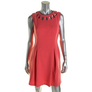 Jessica Howard Womens Petites Cocktail Dress Cut-Out Pleated - 10P