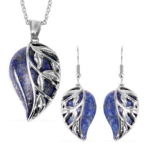 Beaded Necklace Lapis Lazuli Leaf Earrings Pendant 20 Inch Set Ct 70 - Size 20''