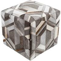 "18"" White and Dark Brown Geometric Pattern Square Pouf Ottoman with Knife Edge"