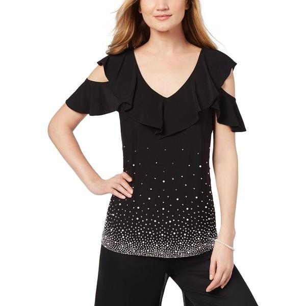 f3683af9182a9 Shop MSK Womens Blouse Embellished Cold Shoulder - Free Shipping On Orders  Over  45 - Overstock - 26965733
