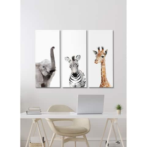 Kate and Laurel Animal Canvas Wall Art Set by Amy Peterson Art Studio