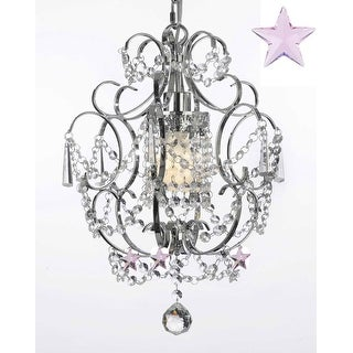 "Chrome Crystal Chandelier Lighting With Pink Crystal Stars! H15"" x W11.5"""