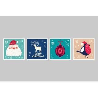 Festives Decorations Set 4 - Christmas Posters - 9x9 Matte Poster Print