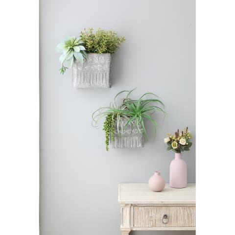 Two Piece Gray Metal Wall Cache Pot Planters