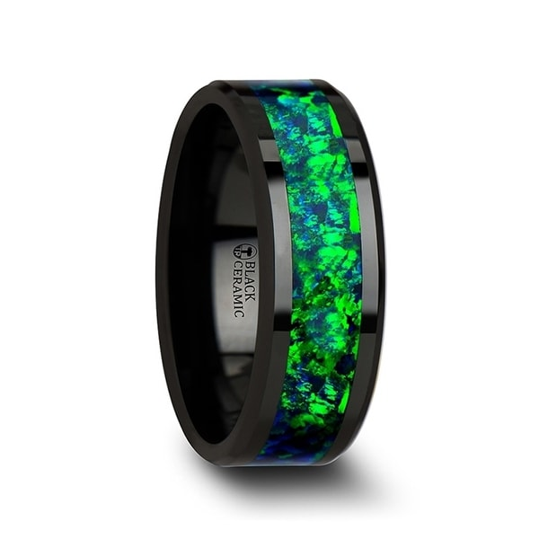 PULSAR Black Ceramic Wedding Band with Beveled Edges and Emerald Green & Sapphire Blue Color Opal Inlay 8mm
