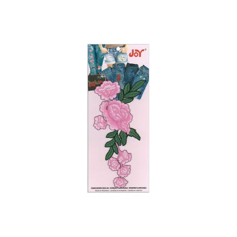 Joy Applique Iron On Creeping Rose Vine Pink