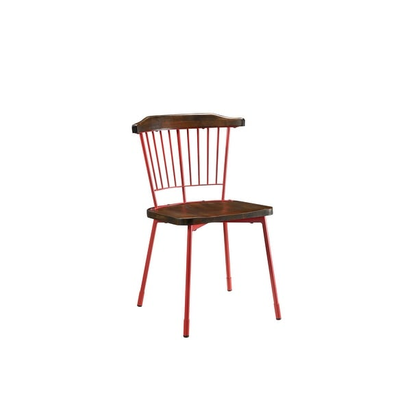 "32"" X 21"" X 19"" Wood and Metal Side Chair (Set-2), Red & Brown Oak"