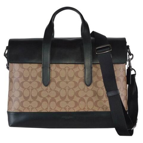 Coach Men's Signature Canvas Leather Hamilton Portfolio Briefcase Bag