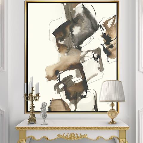 Designart 'Gold Glam Squares II' Modern & Contemporary Framed Canvas - Black
