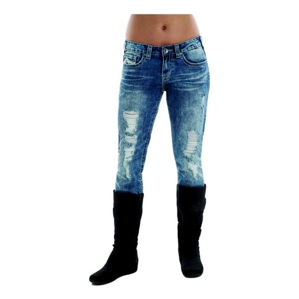 Cowgirl Tuff Western Denim Jean Women Faded Blues Rips Med Wash