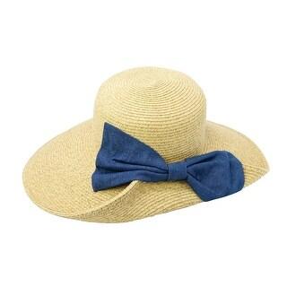 ChicHeadwear Womens Fashion Sun Hat w/ Denim Bow - One size