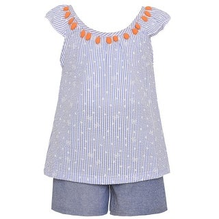 Teddy Boom Little Girls Blue Thin Stripe Pattern Top 2 Pc Shorts Outfit