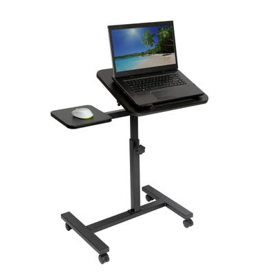 Seville Classics Height Adjustable Tilting Mobile Laptop Desk Cart with Mouse Pad Table, Black