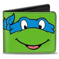 Classic Tmnt Leonardo Face Close Up Green Blue Bi Fold Wallet - One Size Fits most