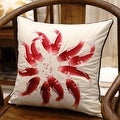 "Luxury Red Fish Embroidered Pillow 18""X18"" - Thumbnail 2"
