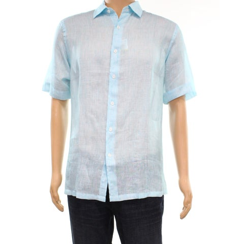 Tasso Elba Mens Small Lightweight Linen Button Down Shirt