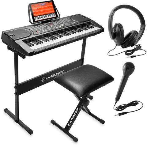 Electronic Piano with Stand, Stool, Headphones, Microphone & Sticker