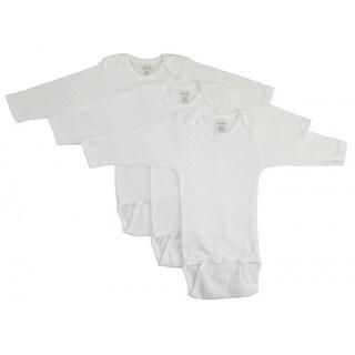 Bambini Rib Knit White 100% Cotton Long Sleeve Onesie