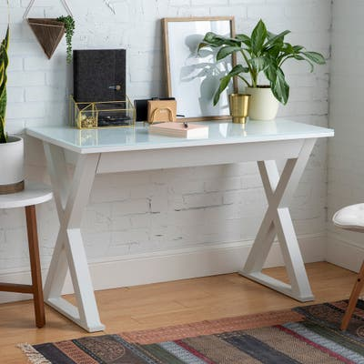 48-inch White X-Frame Computer Desk with Glass Top