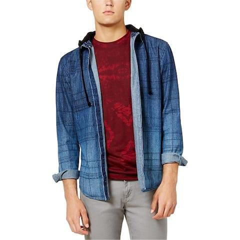 American Rag Mens Distressed Sketch-Plaid Button Up Shirt