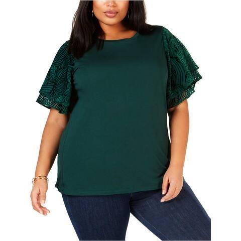 MICHAEL Michael Kors Womens Plus Pullover Top Velvet Flutter Sleeves