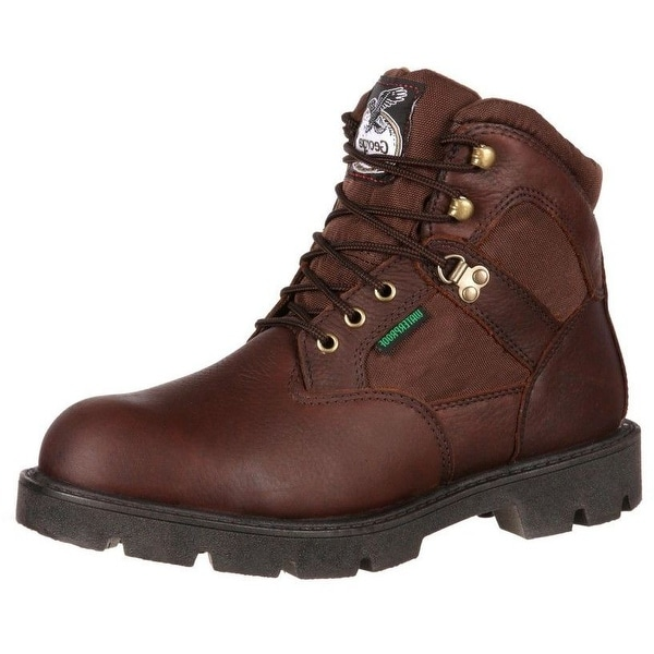 "Georgia Boot Work Mens 6"" Homeland Waterproof Leather Brown"