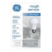 GE 72527 A19 Rough Service Light Bulb, 100 watts