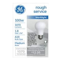 GE 72530 A19 Rough Service Light Bulb, 75 watts