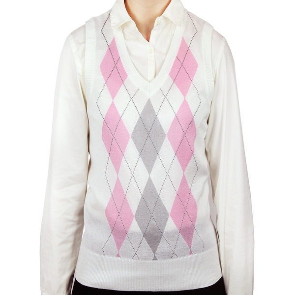 Shop Ladies Argyle Sweater Vest Lsv 159 Free Shipping On Orders