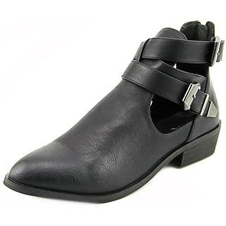 Mia Nadiya Women Pointed Toe Synthetic Black Ankle Boot