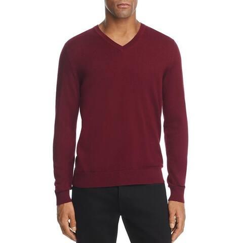 Burberry Men's Randolf Burgundy Cashmere V-neck Sweater