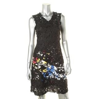 Elie Tahari Womens Lace Overlay Floral Print Semi-Formal Dress - 0