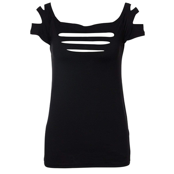 Suimiki Womens Slashed Ripped Cut Out Clubwear Party Shirt Stretchy Blouse Top