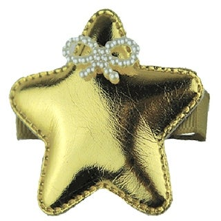 Reflectionz Girls Gold Glossy Star Beaded Ribbon Accent Hair Clippie
