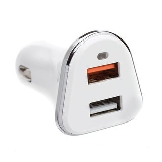 Offex 2 Port USB Car Charger, 2 x USB A, 5V 3A, Cigarette Lighter Plug, features Quick Charge v3.0 - White - N/A