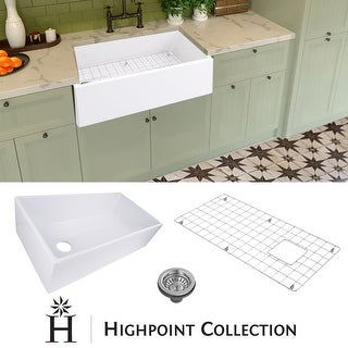 """Highpoint Collection 36-inch Fireclay Farmsink with Grid and Drain - 36"""" x 19"""" x 10"""""""
