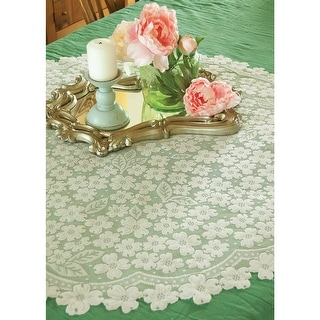 "Dogwood White Lace Table Topper - 42"" Diameter"
