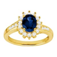 2 1/10 ct Created Ceylon & White Sapphire Sunburst Ring in 14K Gold-Plated Sterling Silver - Blue