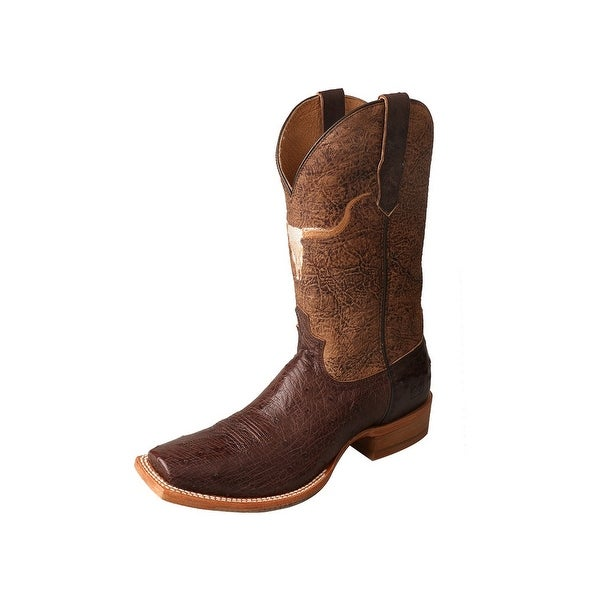 Twisted X Western Boots Men Gold Buckle Rancher Longhorn Tobac