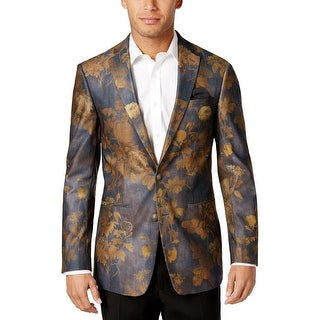 Tallia Orange Label Slim Grey and Gold Floral Print 2-Button Blazer 44 Regular